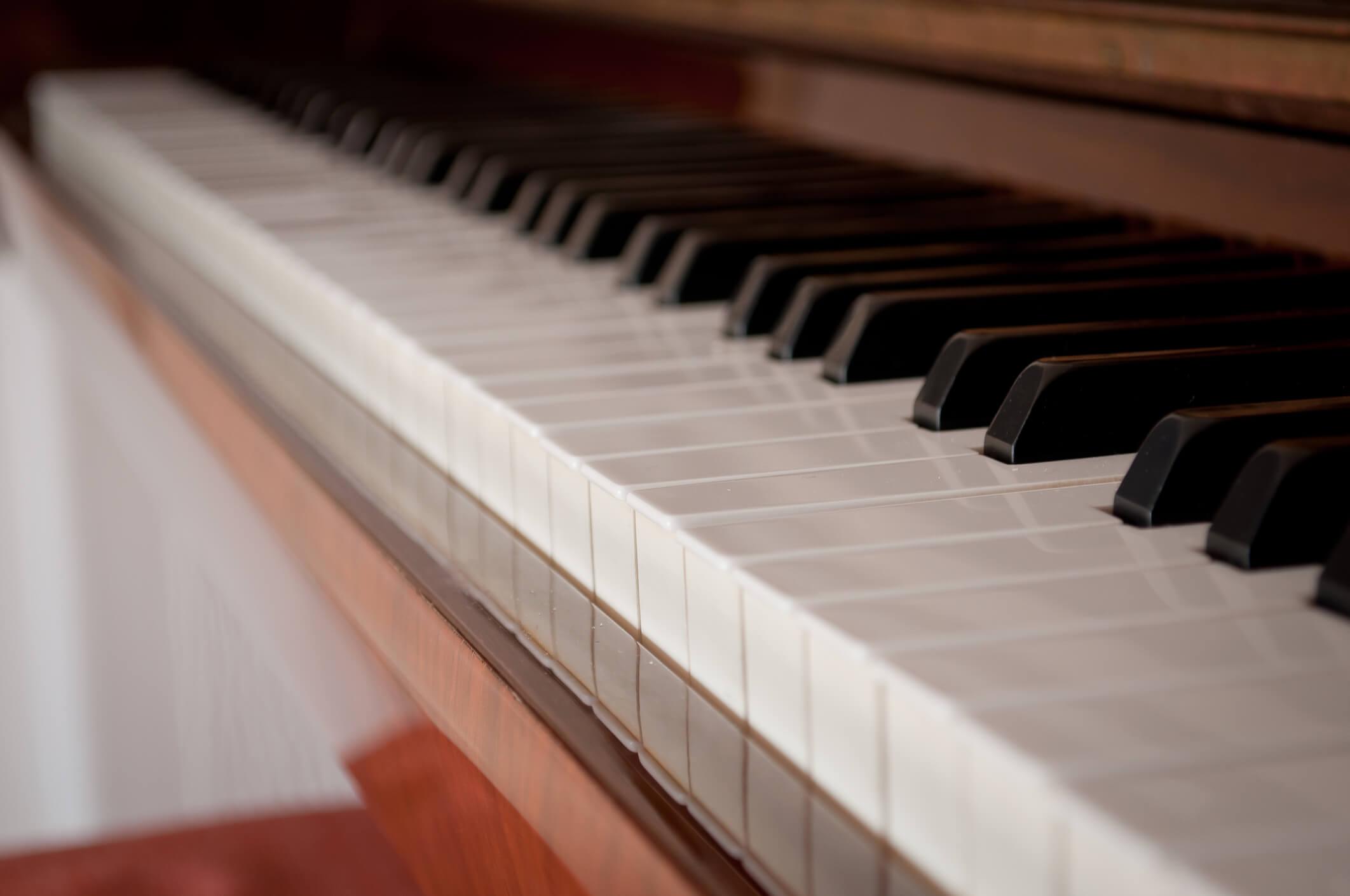 Piano Keys close up.