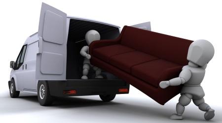 Removal Men Taking Sofa Away