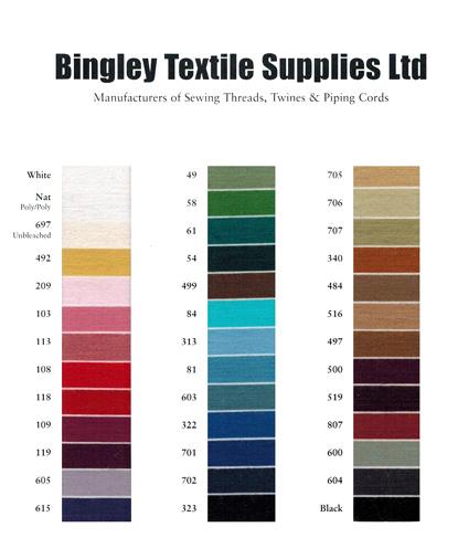 Bingley Textile Supplies shade card
