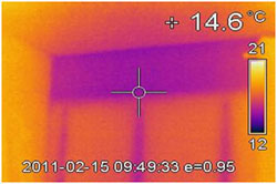 This infra red photo of an external wall of a flat suffering from mould growth, believed to be caused by life style issue