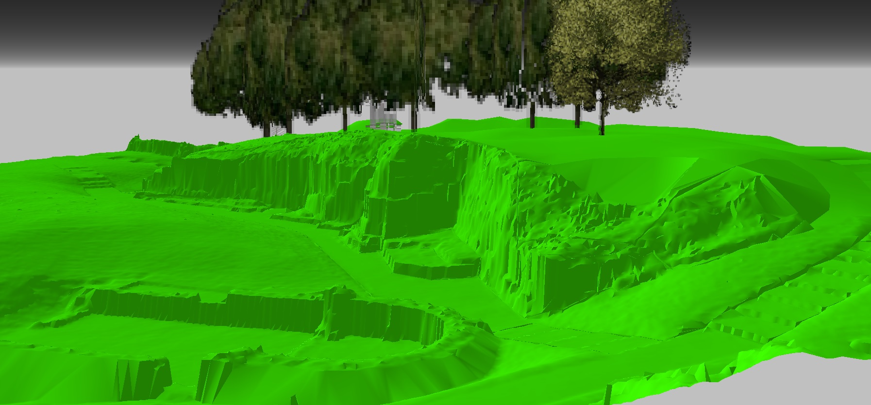 3D render of a field with trees.