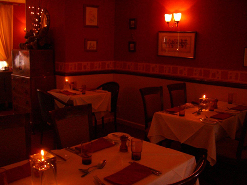 View of Burlingtons candle lit dining room
