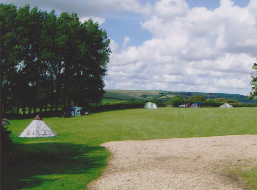 Campsite in field