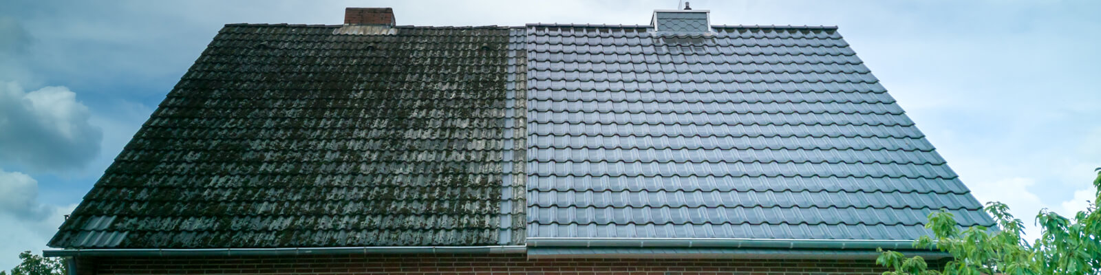 A half cleaned house roof shows the before and after effect of a roof cleaning