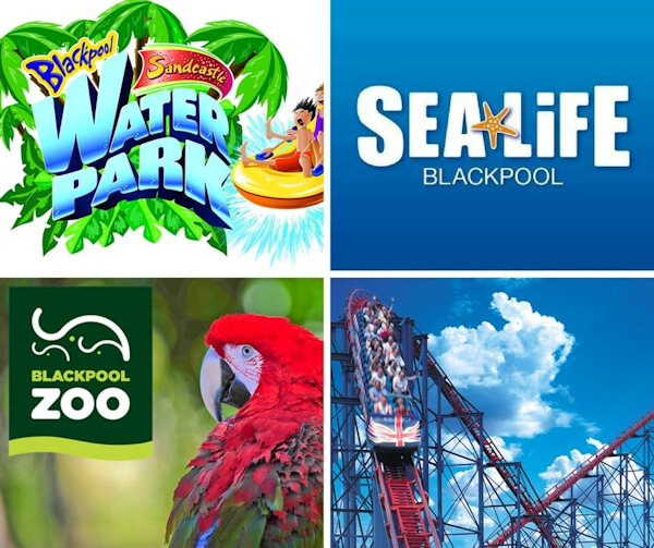 Collage of Blackpool Sandcastle Water Park, Sealife Blackpool, Blackpool Zoo and Blackpool Pleasure Beach logos and imagery