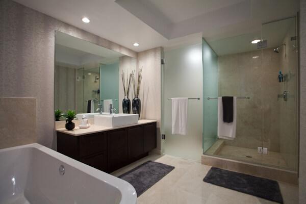Modern Spacious Bathroom with Sink, Bath and Shower