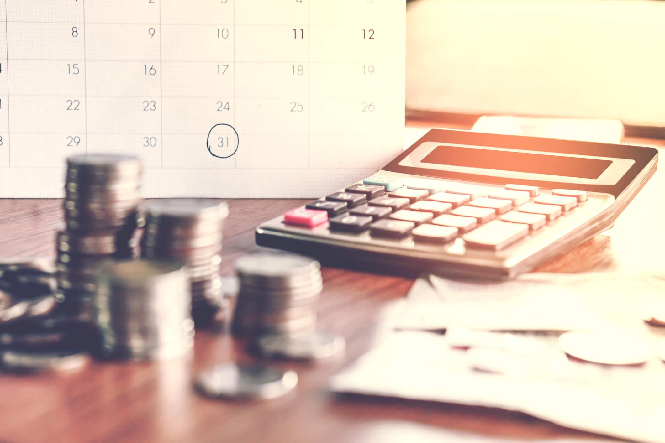 Debt collection and tax season concept with deadline calendar remind note.