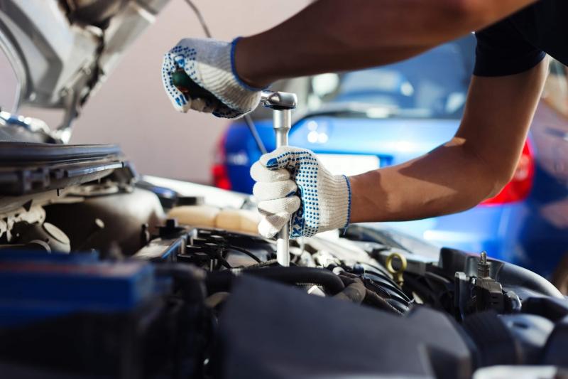 Mechanic working on a engine