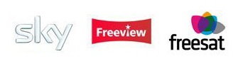 Sky, Freeview and Freesat Logos