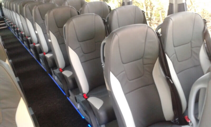 Row of seats on luxury coach