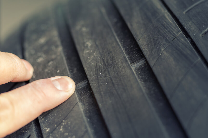 Car Tyre tread being pointed at