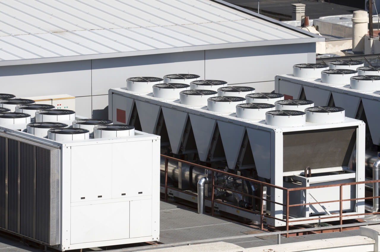 Air conditioning units on rooftop