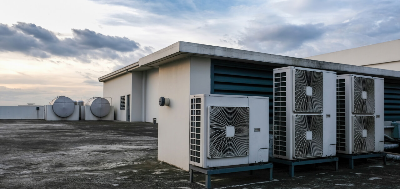 modern air conditioning on rooftop