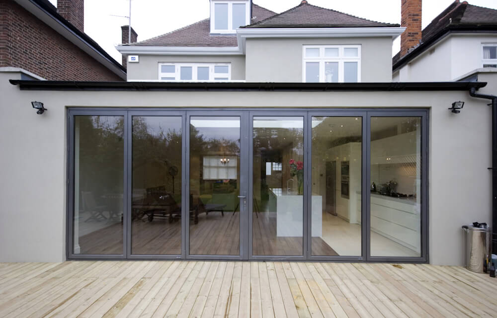 An outside view of an kitchen extension