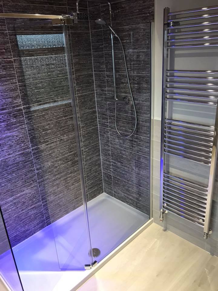 A new bathroom with purple backlight