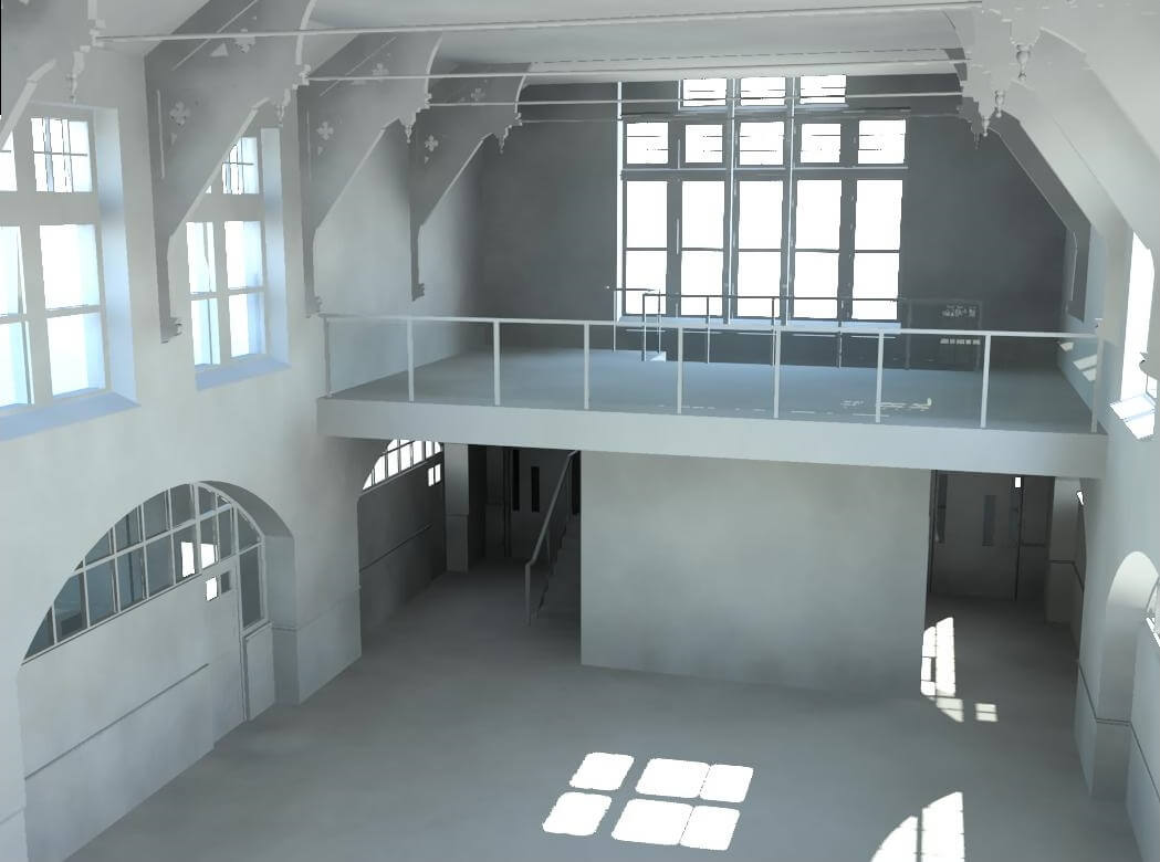 3D view of the inside of a building.