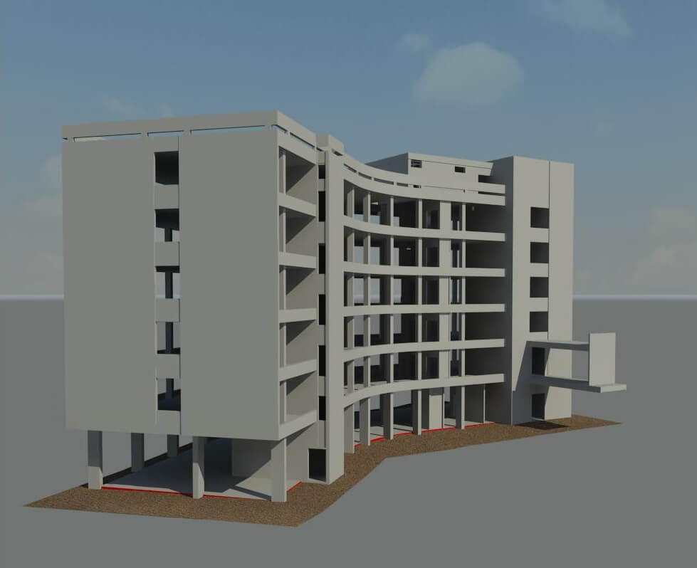 3D scan of a multi-story car park