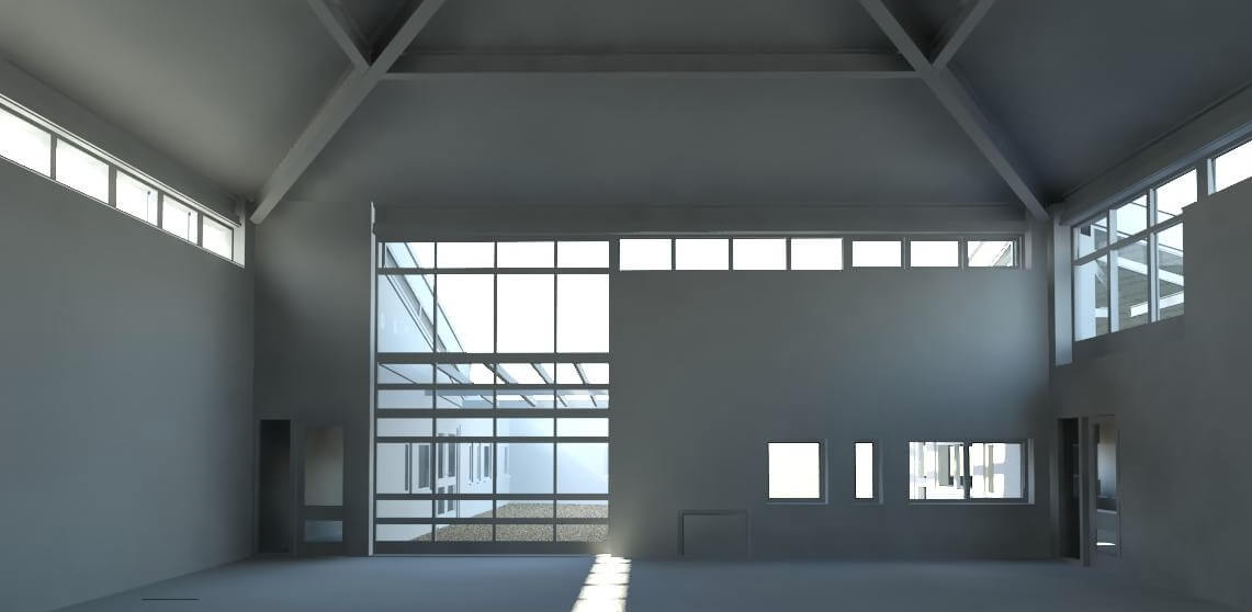 Inside of a 3D rendered building.