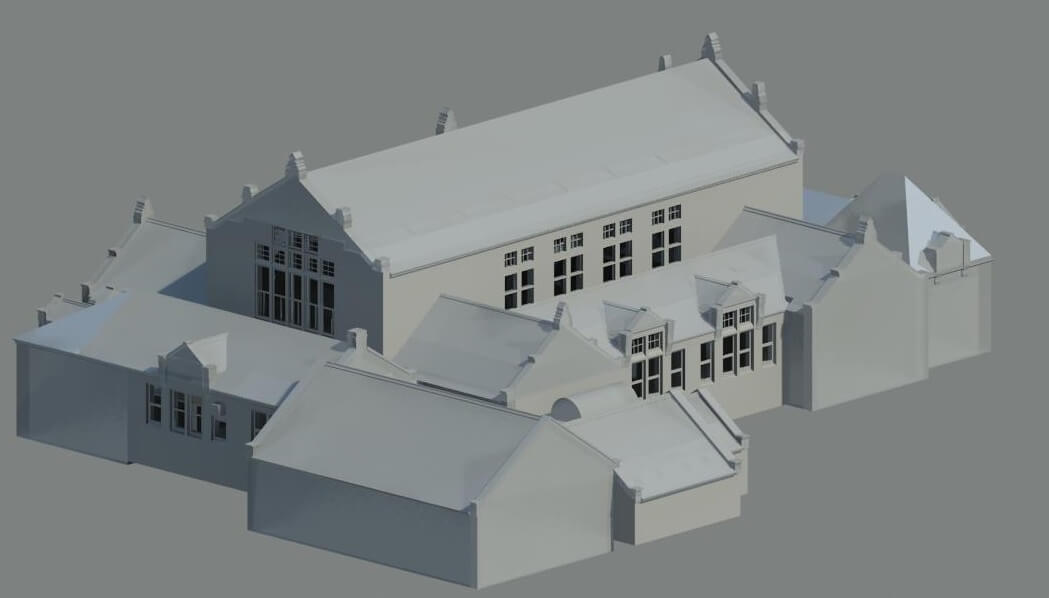 Plain render of old building