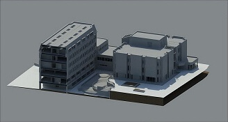 3D render of a large building.