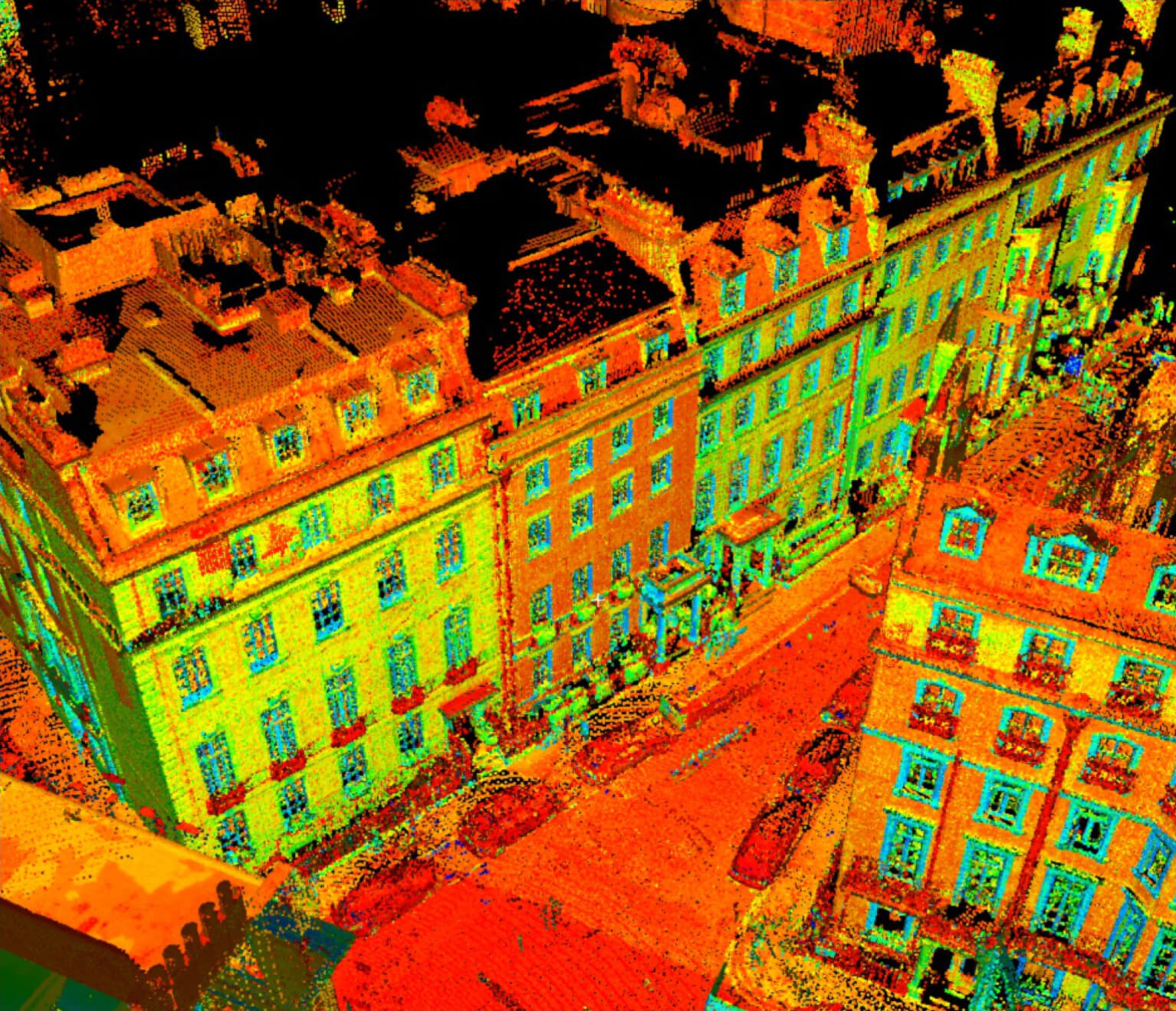 above scan of buildings.
