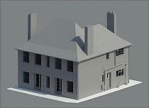 3D render of a house.