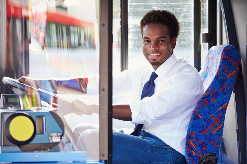 Happy bus driver with good mental health