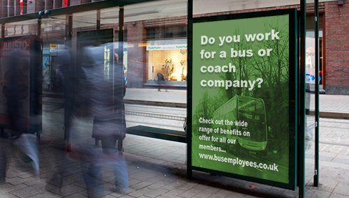 Do you work for a bus or coach company advertisement at a bus shelter
