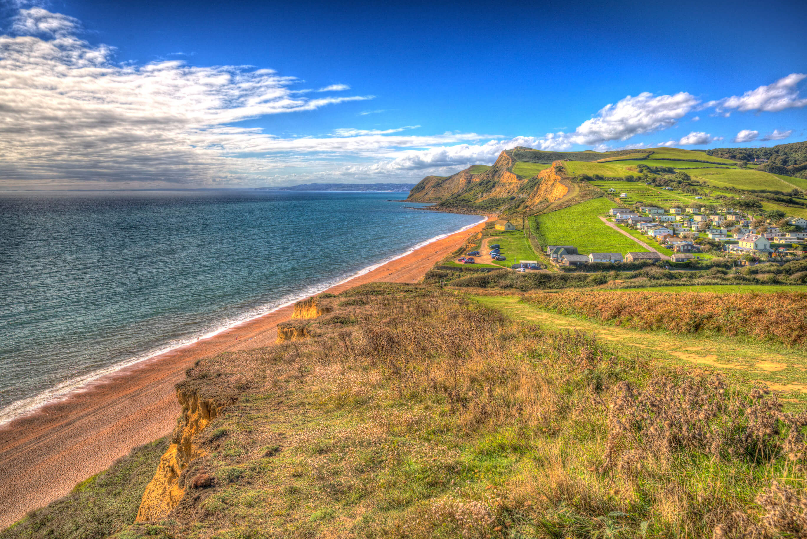 Eype Dorset Jurassic coast in bright colourful HDR south of Bridport and near West Bay England UK.