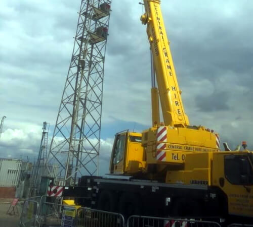 Crane lifting in the air