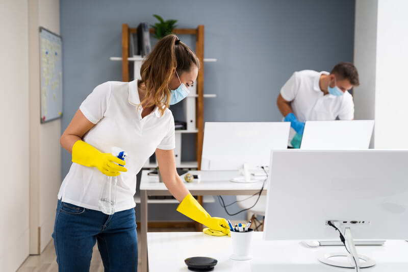 Professional Office Cleaning Services With Face Masks