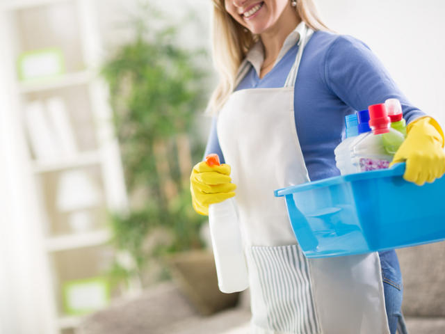 Women holding cleaning products