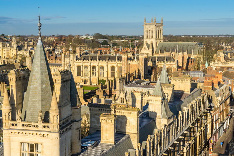 Looking across the rooftops of Cambridge in the county of Cambridgeshire
