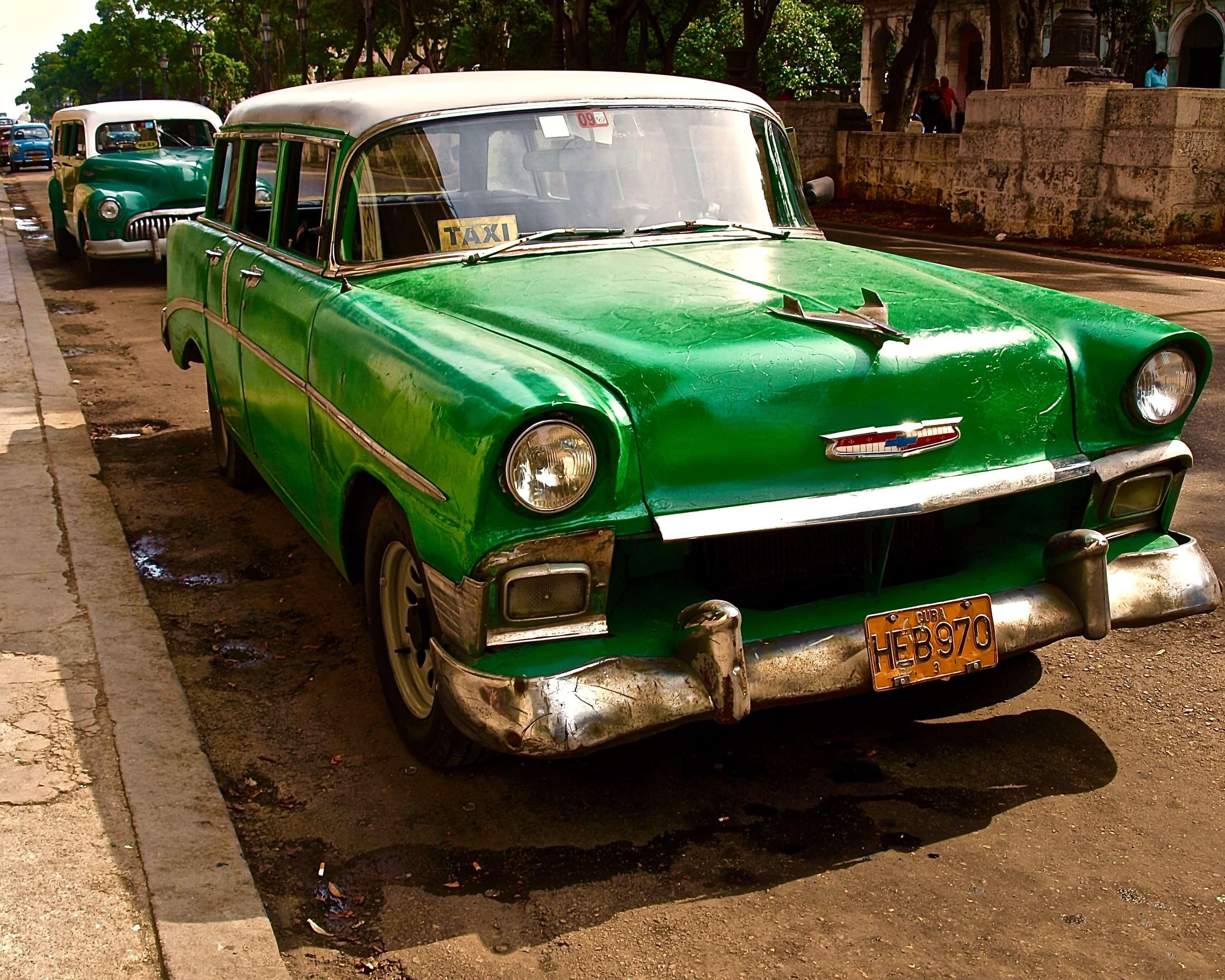 A green taxi in cuba.