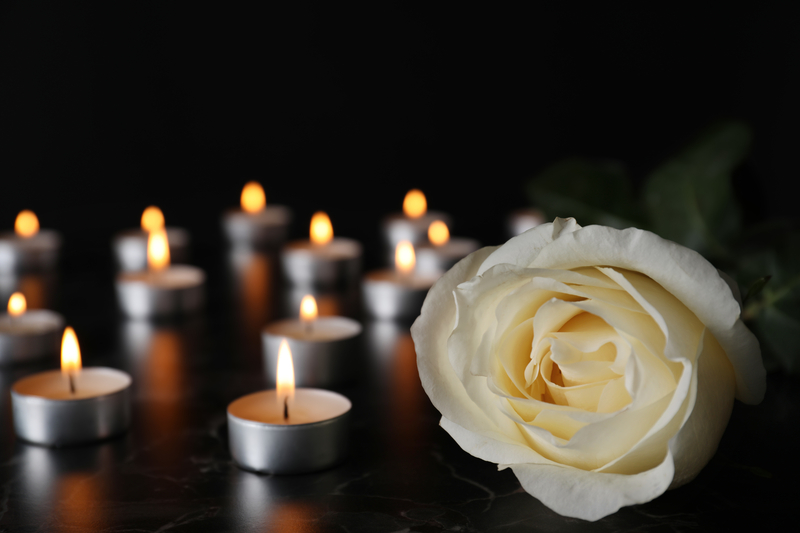 White rose next to burnign candles. Funeral Concept.