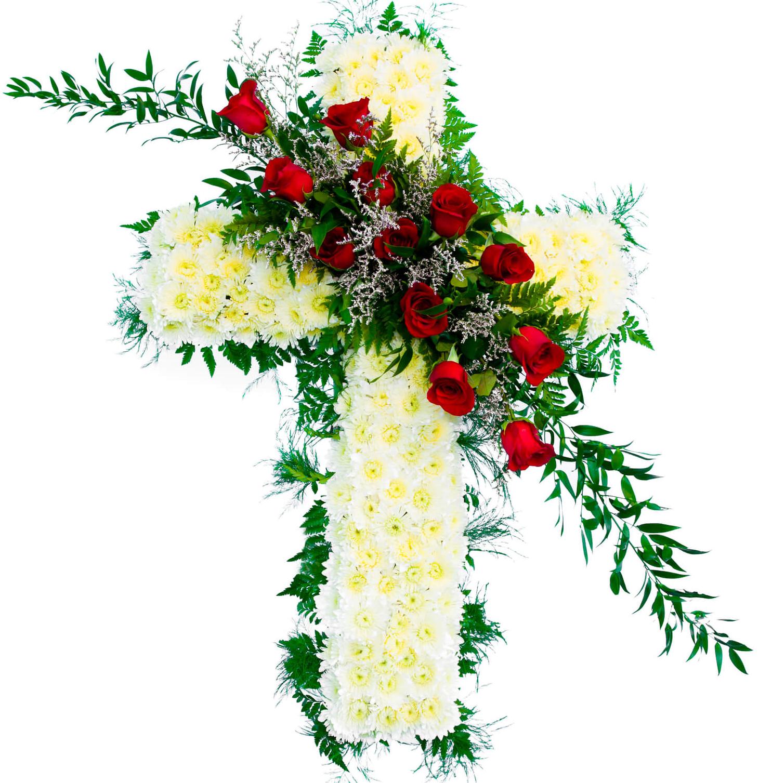 Funeral Flowers in a Cross
