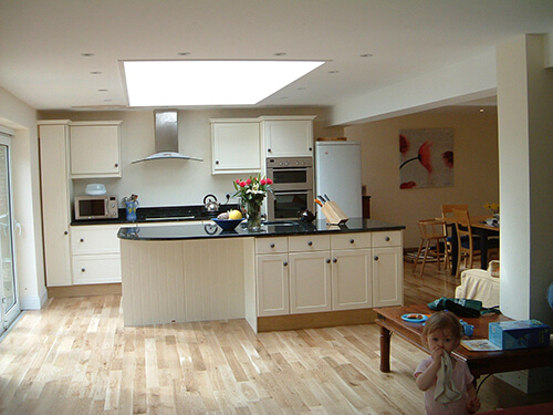 Cream Kitchen Interior and Wooden Flooring