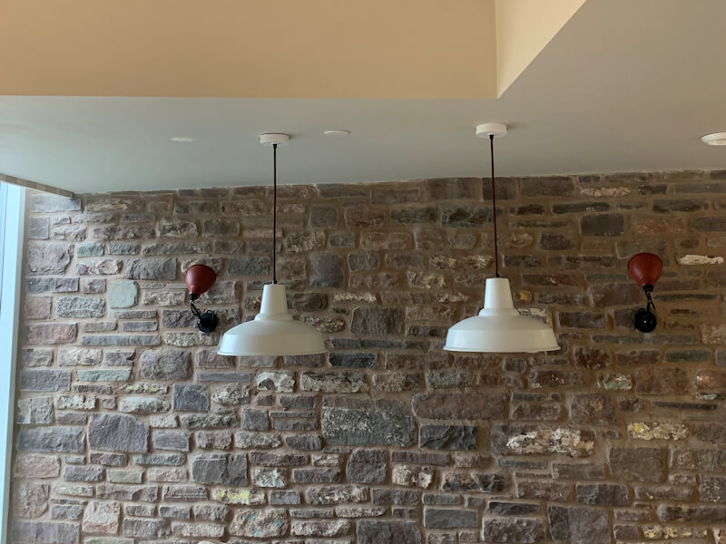 New Lighting fitted in dining room and wired by an Electrician
