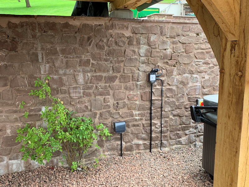 Otdoor Electrical Point for lighting inside Wooden Canopy