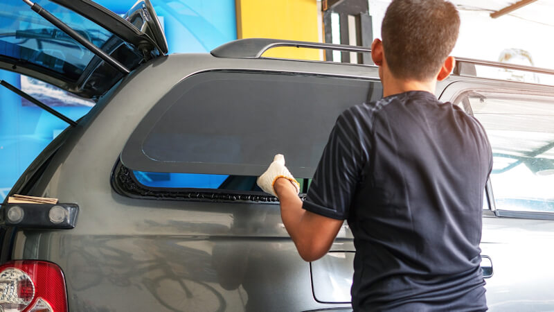 Car rear window replaced with new window.