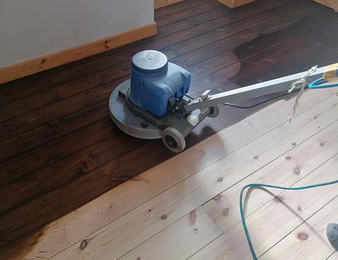 Wooden floor sanding in progress by Flooringman
