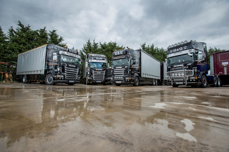 Truckers parked ready to haul