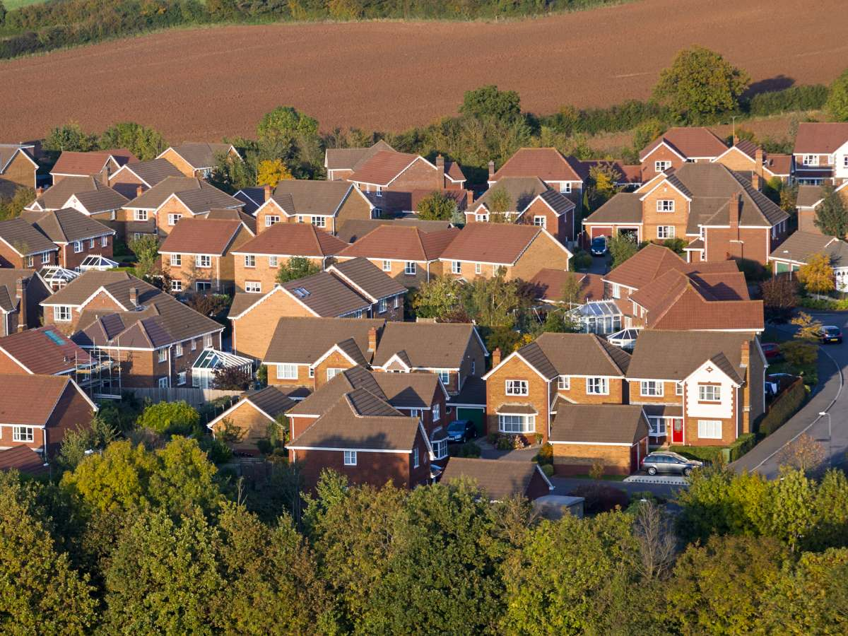 Birds eye view of houses.