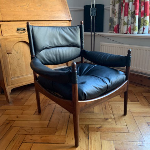 Re-upholstered leather chair