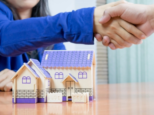 Letting agent shakes hands with customer