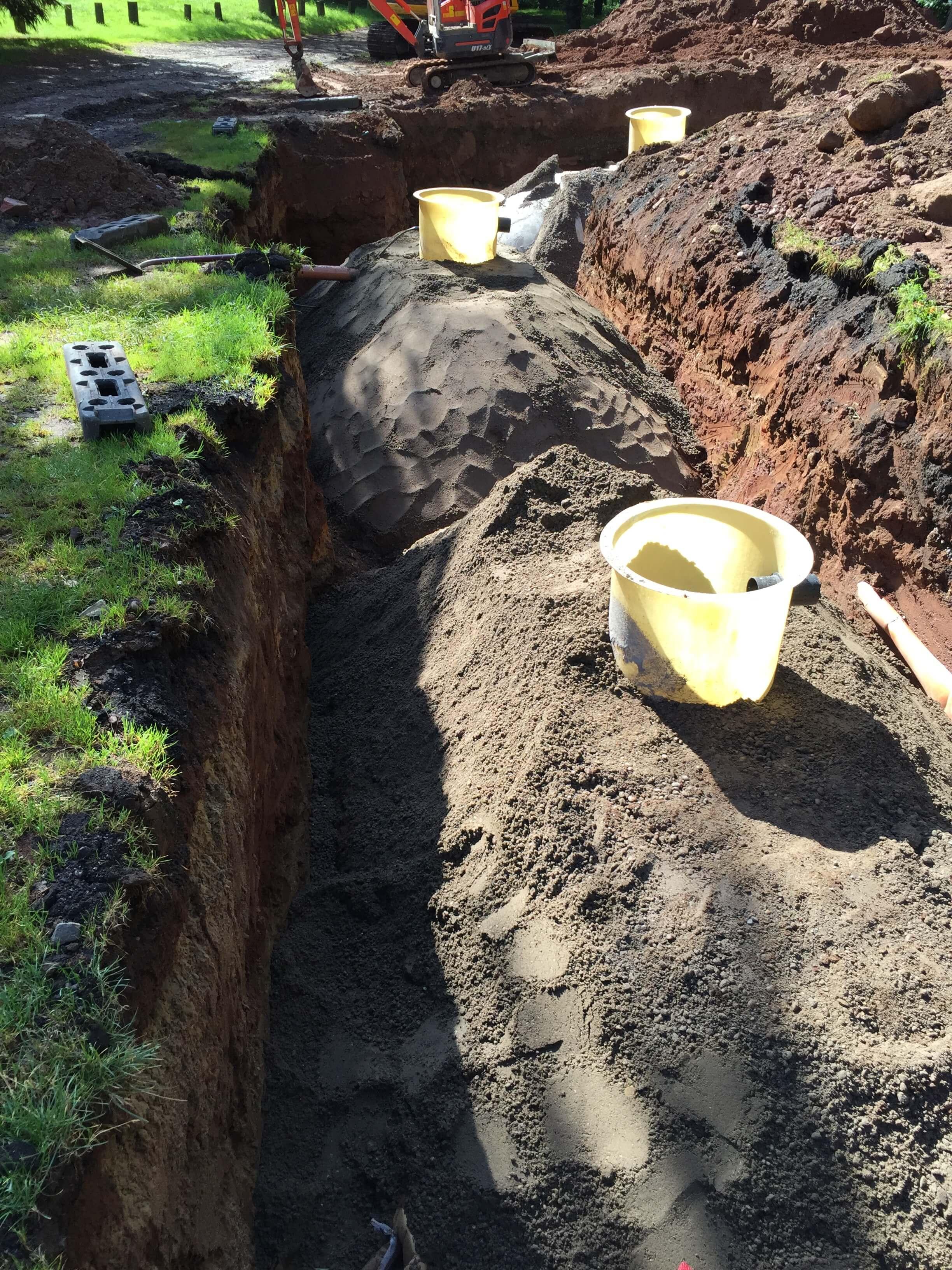 Large septic tanks buried underground