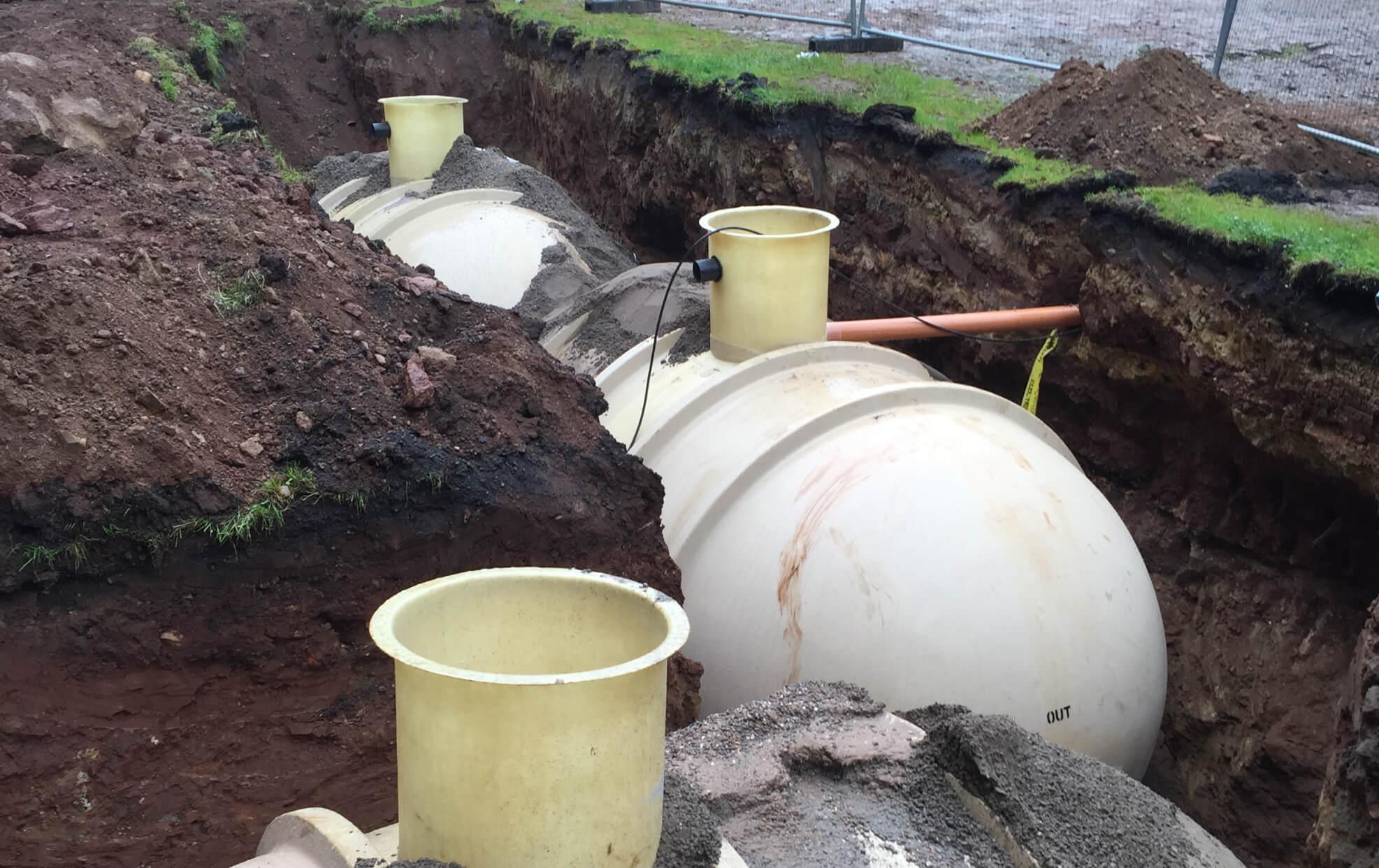 Large sewage tanks underground