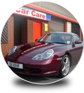 Sports car parked outside Mansfield car care centre