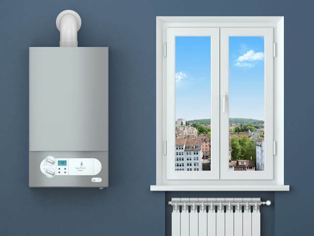 Heating house. Gas boiler, window, heating radiator. Concept
