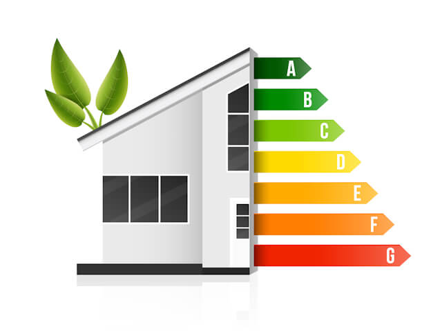Creative illustration of home energy efficiency rating isolated on background